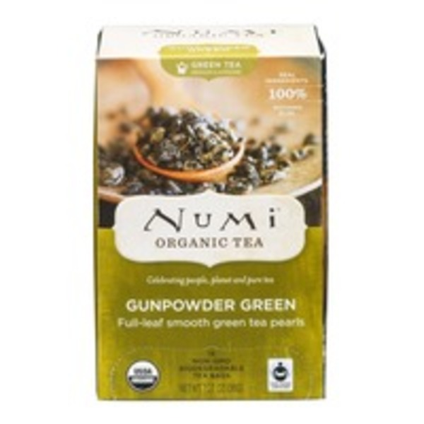 Numi Organic Green Tea Bags Gunpowder Green