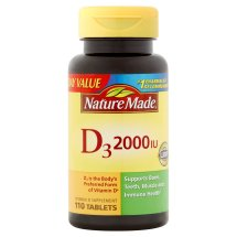 Nature Made Vitamin D3 Dietary Supplement Tablets, 2000 I.U., 110 ct