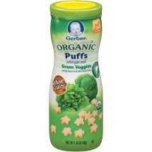 Gerber Organic Puffs Cereal Snack, Green Veggies, Naturally Flavored with Other Natural Flavors, 1.48 Ounce, 1 Count