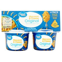 Great Value Macaroni & Cheese Microwavable Cups, Original, 2.05 oz, 4 Count