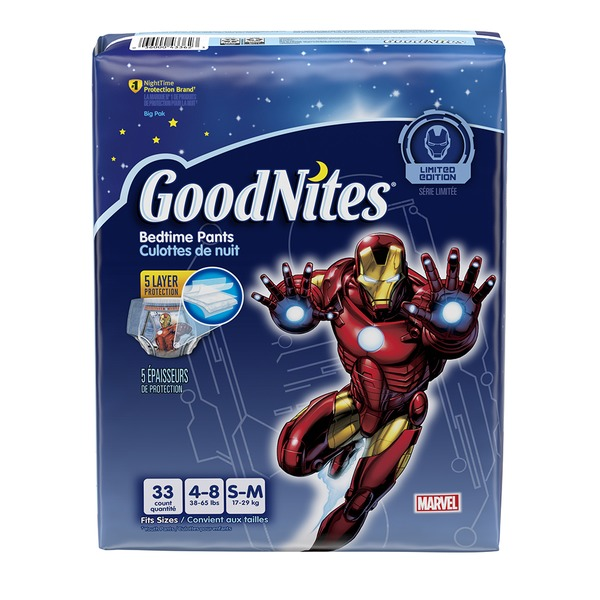 GoodNites Marvel Iron Man Boy's Small/Medium Bedtime Pants