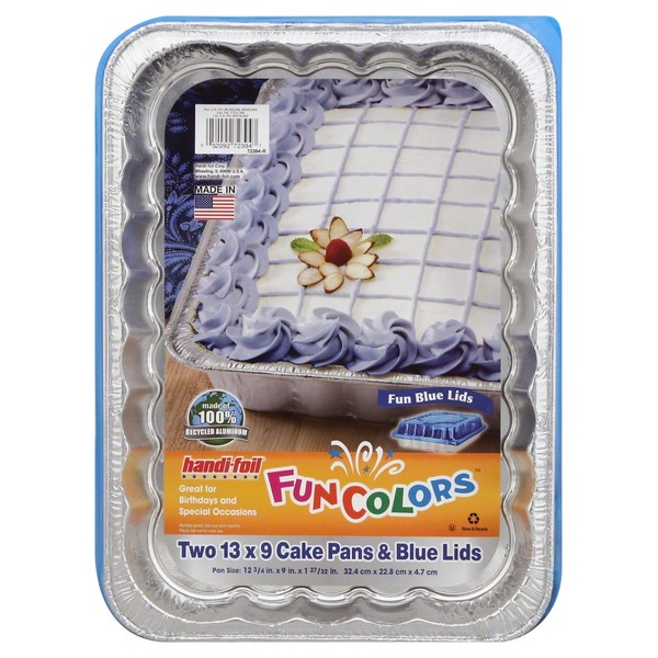 Handi-Foil Blue Foil Cake Pan With Lids