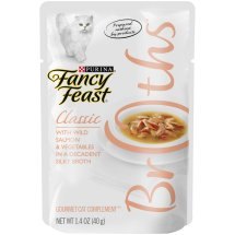 Purina Fancy Feast Broths Classic with Wild Salmon and Vegetables Cat Food Pouch, 1.4 oz