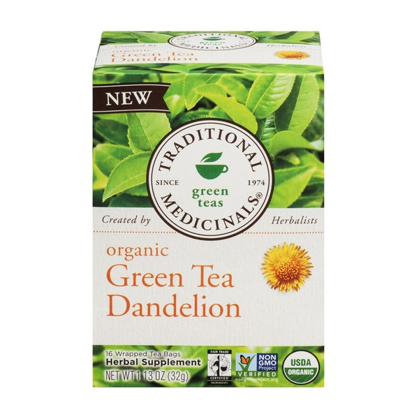 Traditional Medicinals Green Teas Organic Green Tea Dandelion Tea Bags - 16 CT