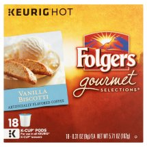 Folgers Gourmet Selections Vanilla Biscotti Coffee, 0.31 oz, 18 count