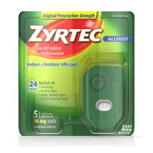 Zyrtec Prescription-Strength Allergy Medicine Tablets With Cetirizine, 5 Ct, 10 mg, Travel Size
