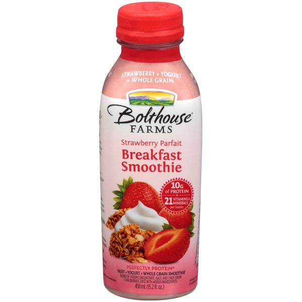 Bolthouse Farms Breakfast Smoothie Strawberry Parfait Fruit + Yogurt + Whole Grain Smoothie