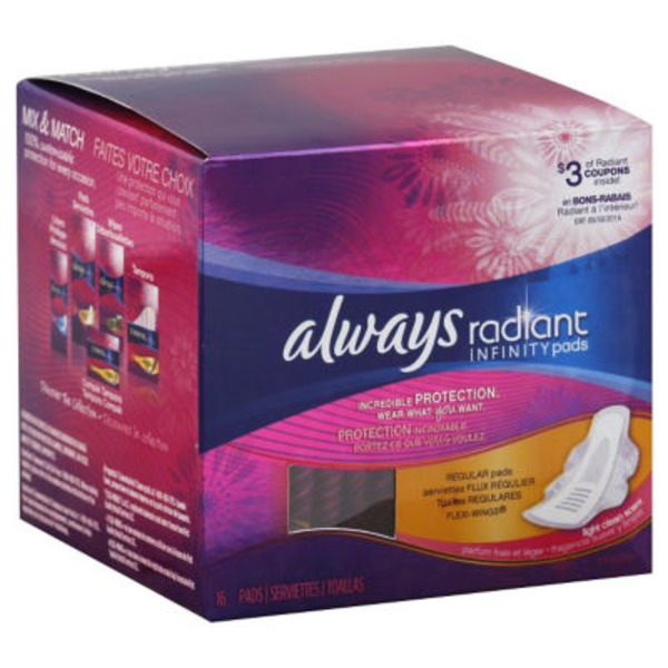 Always Infinity Always Radiant Regular with wings scented Pads 15 count Feminine Care