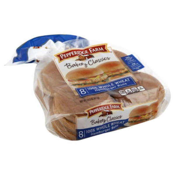 Pepperidge Farm Fresh Bakery 100% Whole Wheat Hamburger Buns