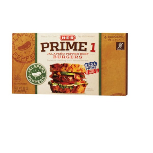 H-E-B Prime 1 Jalapeno Pepper Beef Burgers