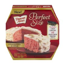 Duncan Hines Perfect Size Strawberries & Creme Cake Mix & Frosting Mix, 9.4 OZ