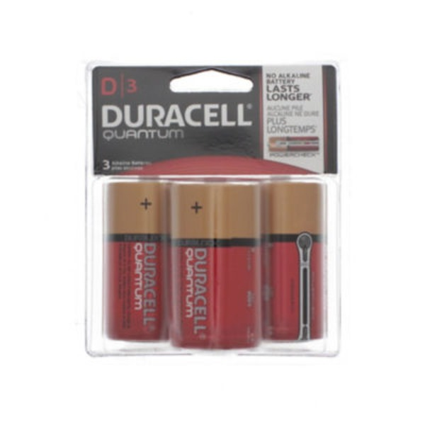 Duracell Quantum Duracell Quantum D Alkaline Batteries 3 count Primary Major Cells