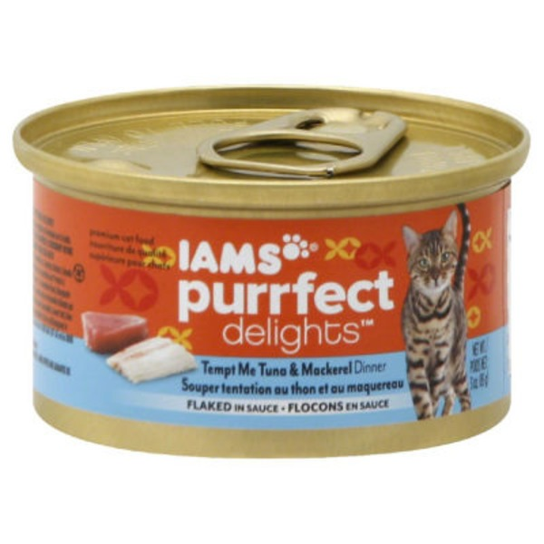 Iams Temp Me Tuna & Mackerel Dinner Flaked in Sauce Cat Food