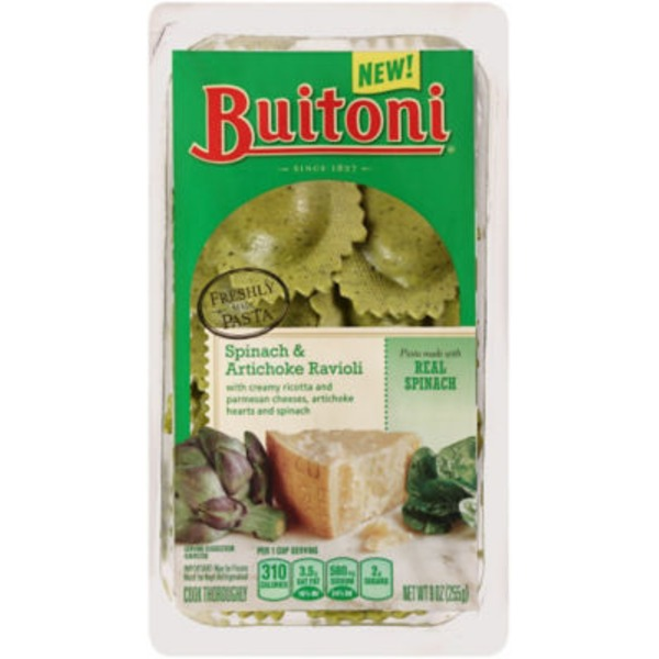 Buitoni Freshly Made. Filled with With Creamy Ricotta and Parmesan Cheeses, Artichoke Hearts and Spinach Spinach and Artichoke Ravioli