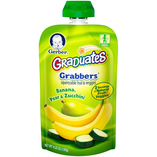 Gerber Grabbers Banana Pear Zucchini Squeezable Puree
