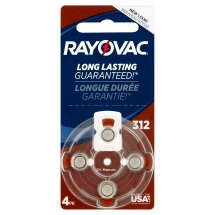 Rayovac Hearing Aid Batteries, Size 312, 4 ct