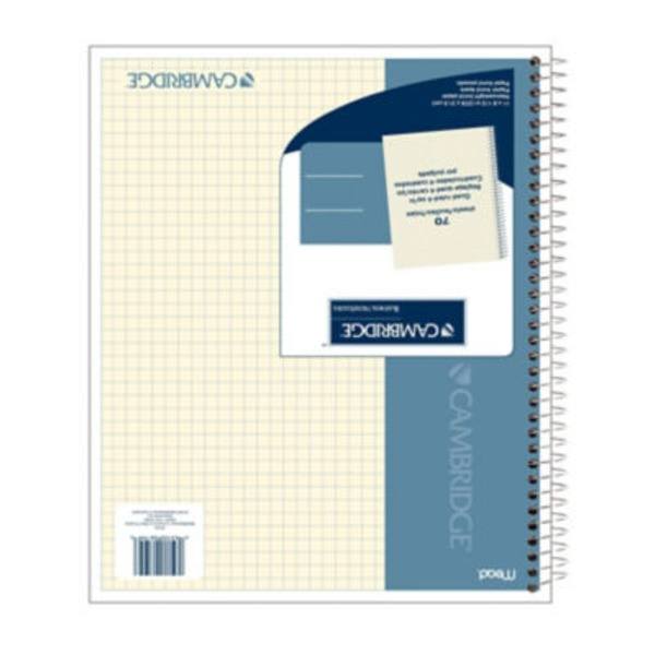 Mead Cambridge Notebook Four Square Quad Ruled Ivory 70 Sheets