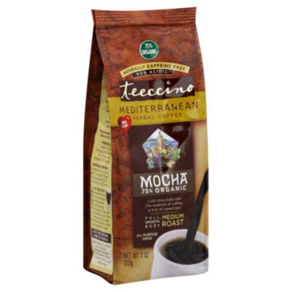 Teeccino Herbal All Purpose Grind, Medium Roast, Mocha, Naturally Caffeine Free Coffee