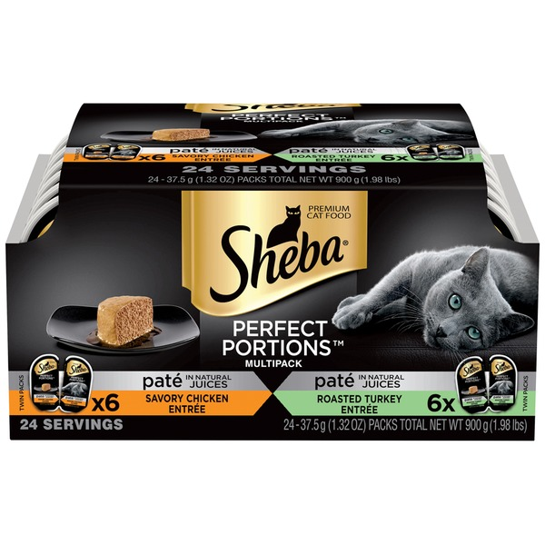 Sheba Multipack Paté in Natural Juices Chicken Entrée & Turkey Entrée Cat Food