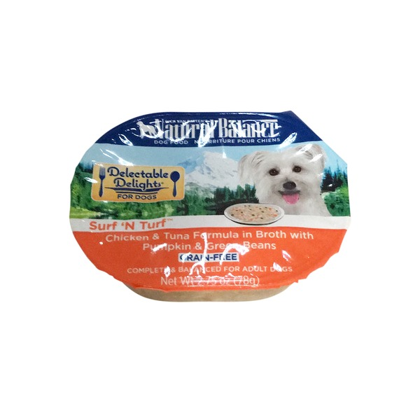 Natural Balance Delectable Delights for Dogs Surf 'N Turf Chicken & Tuna Formula in Broth With Pumpkin & Green Beans Grain-Free