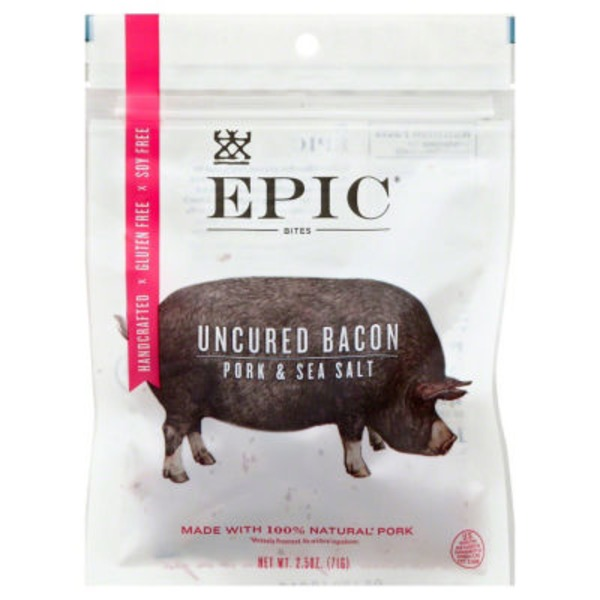 Epic Bites Uncured Bacon Pork & Sea Salt