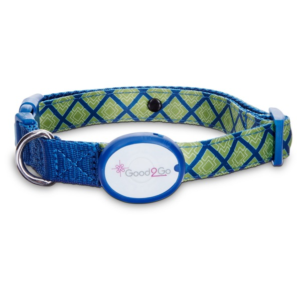 Good2 Go Blue & Green Geometric Square Print Light Up LED Dog Collar For Necks 16