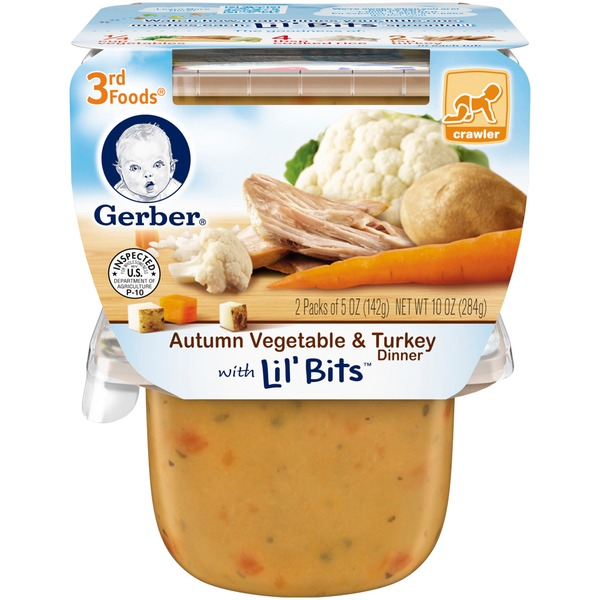 Gerber 3 Rd Foods 3F Autumn Vegetable & Turkey Dinner with Lil' Bits  Purees Dinner