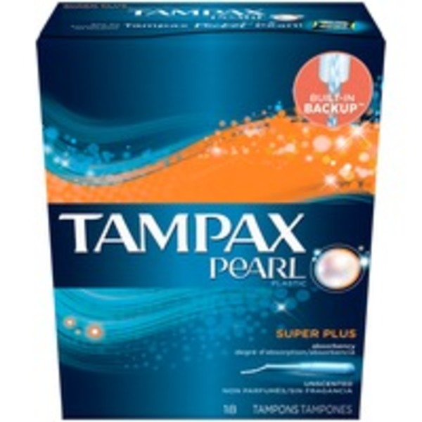 Tampax Pearl Tampax Pearl Plastic Super Plus Absorbency, Unscented Tampons 18 Count  Feminine Care