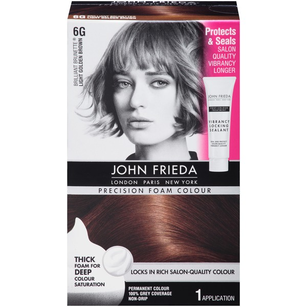John Frieda Hair Color Precision Foam Colour Brilliant Brunette Light Golden Brown 6G Hair Color
