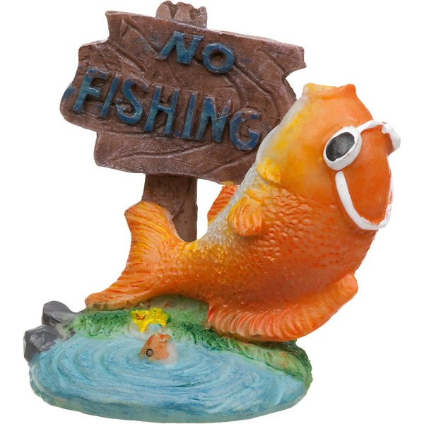 Penn-Plax Mini No Fishing Aquarium Ornament
