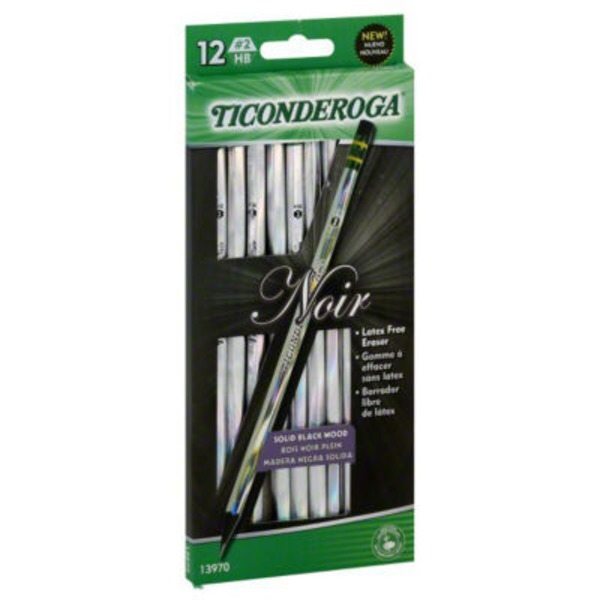 Ticonderoga Noir Solid Black Wood No. 2 Pencils