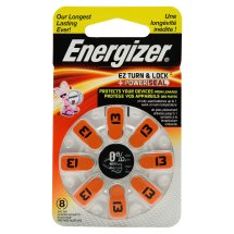 Energizer EZ Turn & Lock Powerseal Size 13 Hearing Aid Batteries, 8 Count