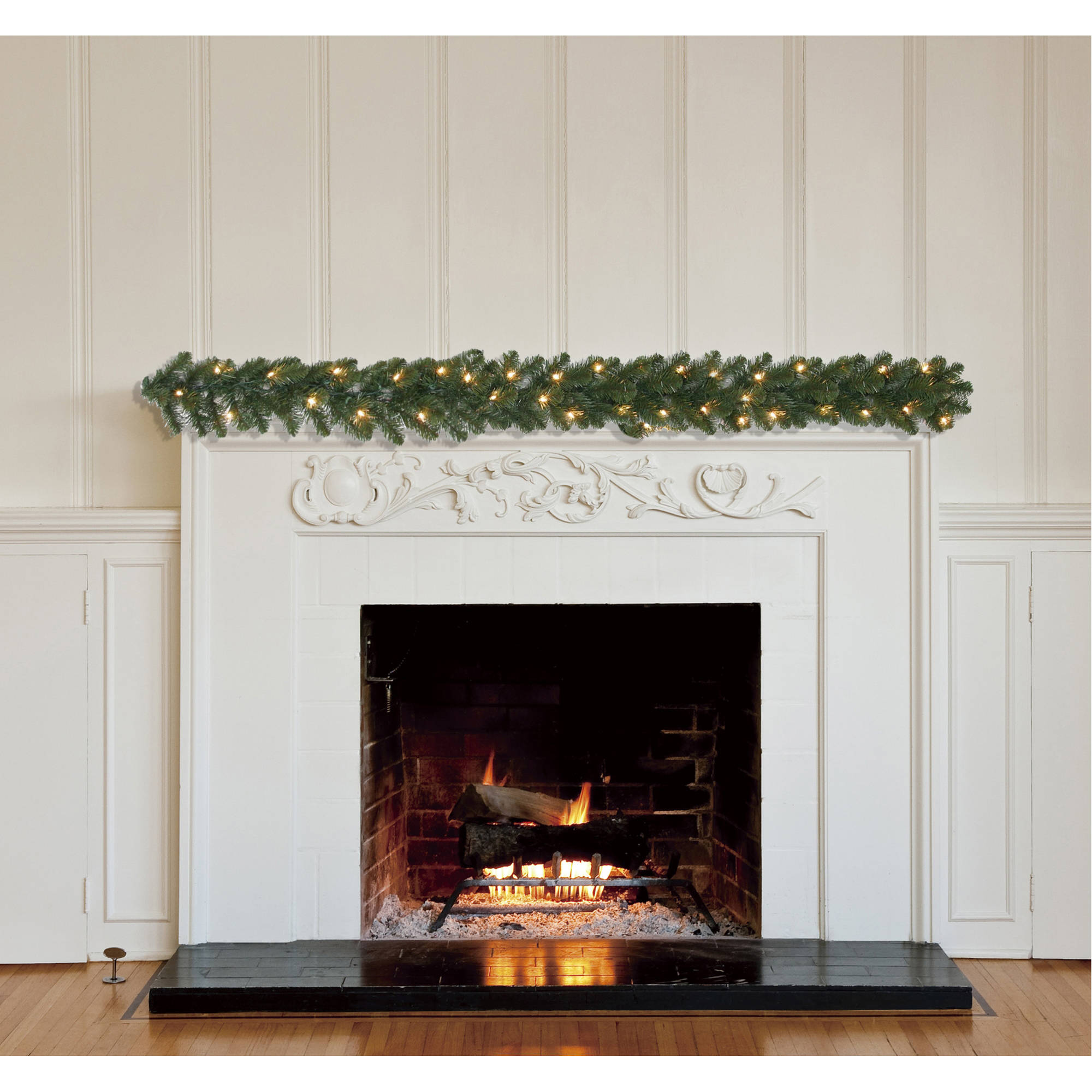 Holiday Time Pre-Lit 9' Madison Pine Artificial Christmas Garland Clear Lights