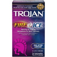 Trojan Fire & Ice Dual Action Lubricant Condoms Pleasures