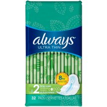 Always Ultra Thin Pads with Wings, Long, Super, 32 Count