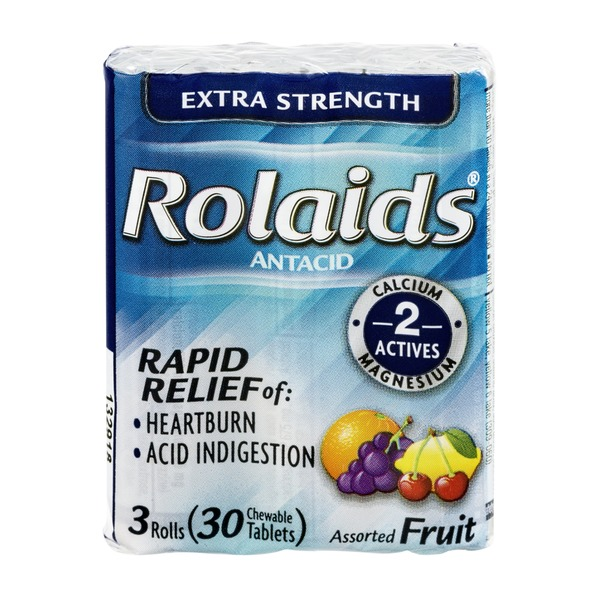 Rolaids Extra Strength Antacid Rolls Assorted Fruit Flavors - 3 CT