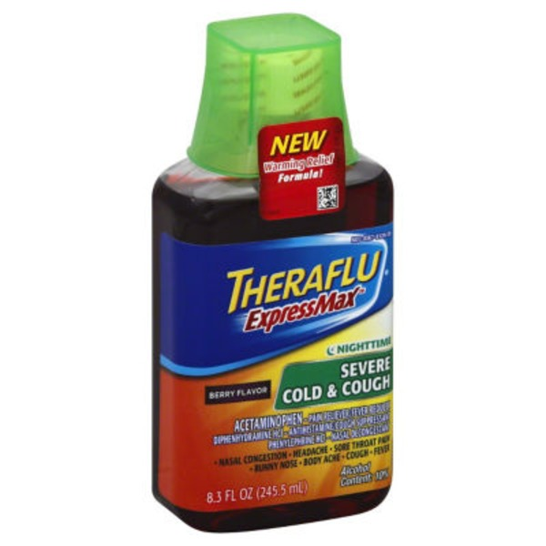 Theraflu ExpressMax Nighttime Severe Berry Flavor Severe Cold & Cough Liquid