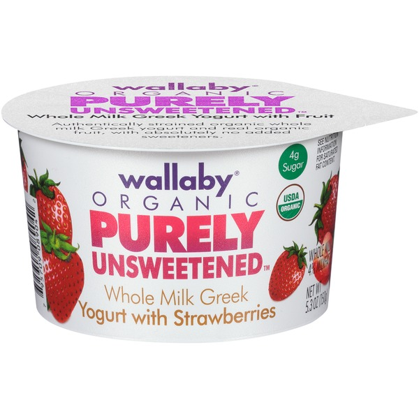 Wallaby Organic Purely Unsweetened Greek Whole Milk with Strawberries Yogurt
