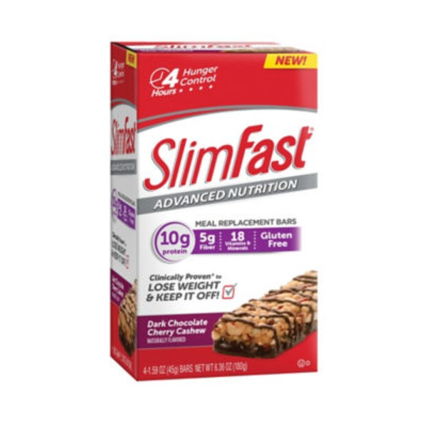 Slimfast Advanced Nutrition Dark Chocolate Cherry Cashew Meal Replacement Bars