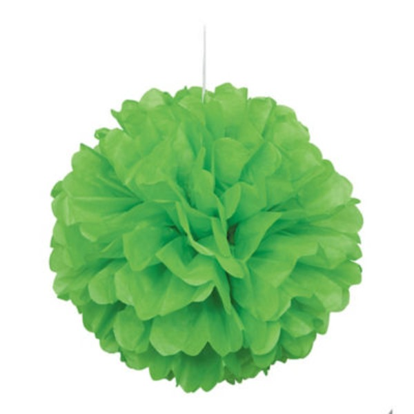 Unique Lime Green Puff Decor 16 In.