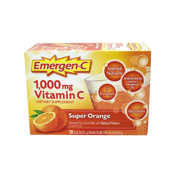 Emergen-C 1000mg Vitamin C Super Orange Fizzy Drink Mix - 32 CT