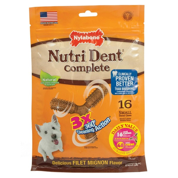 Nylabone Nutri Dent Complete 3X 360 Degree Cleaning Action Small Dental Chews