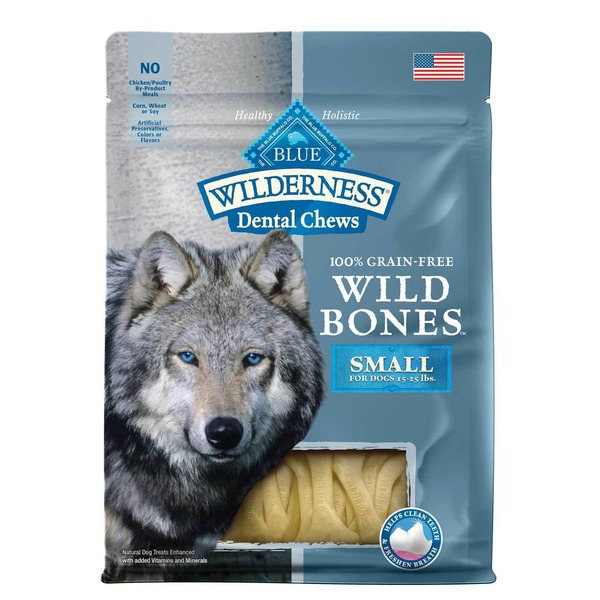Blue Buffalo Wilderness Dental Chews 100% Grain Free Wild Bones Small for Dogs 15-25 lbs.