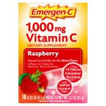 Emergen-c drink mix, raspberry 1000mg packets, 10ct