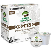 Green Mountain Coffee Organic Ethiopia Yirgacheffe Light Roast Coffee K-Cup Pods