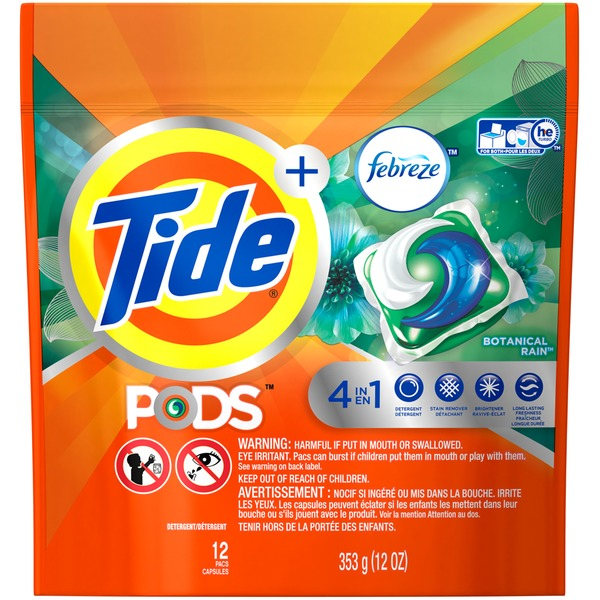 Tide PODS Plus Febreze Laundry Detergent Pacs, Botanical Rain Scent, 12 count, Designed For Regular and HE Washers Laundry
