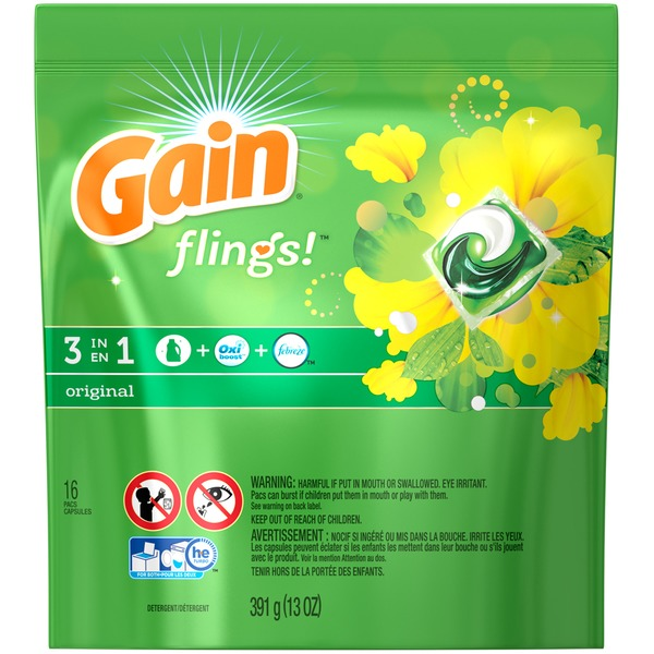 Gain Flings Laundry Detergent Pacs, Original Scent, 16 count Laundry