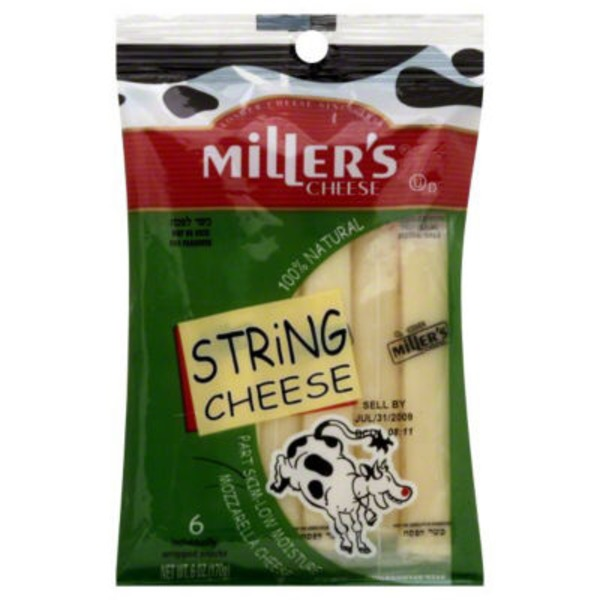 Miller's Cheese Mozzarella String Cheese - 6 CT