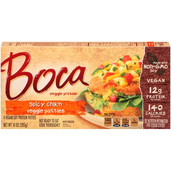 Boca Spicy Chik'n Made with Non-GMO Soy Veggie Patties