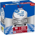 Great Value Strong Flex Tall Kitchen Drawstring Trash Bags, Unscented, 13 Gallon, 90 Count
